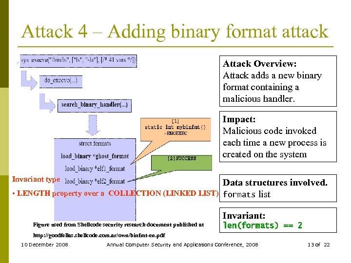 Attack 4 – Adding binary format attack Attack Overview: Attack adds a new binary