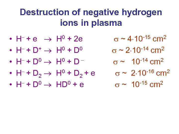 Destruction of negative hydrogen ions in plasma • • • H + e H