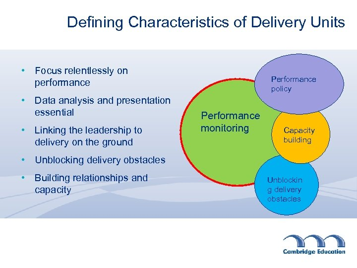 Defining Characteristics of Delivery Units • Focus relentlessly on performance • Data analysis and
