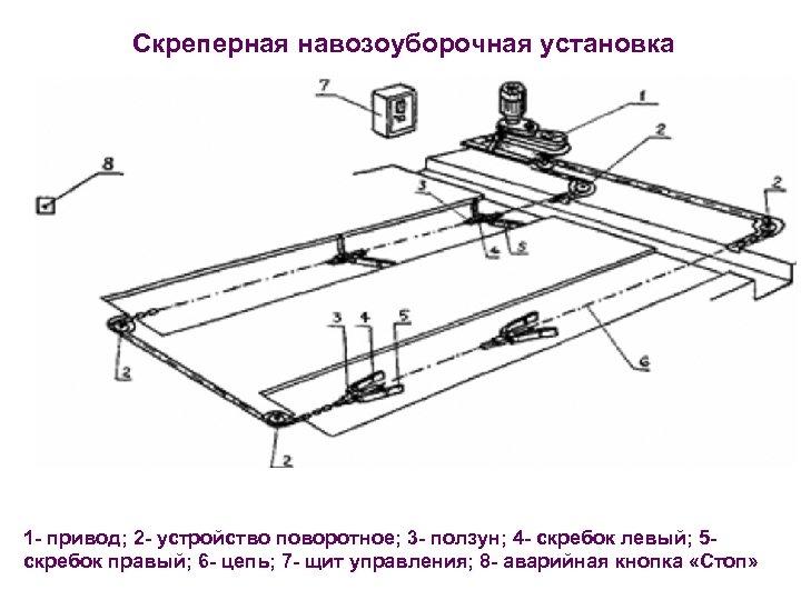 Скреперная навозоуборочная установка 1 - привод; 2 - устройство поворотное; 3 - ползун; 4