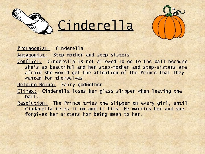 Cinderella Protagonist: Cinderella Antagonist: Step-mother and step-sisters Conflict: Cinderella is not allowed to go