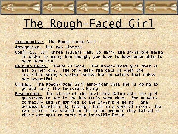 The Rough-Faced Girl Protagonist: The Rough-Faced Girl Antagonist: Her two sisters Conflict: All three