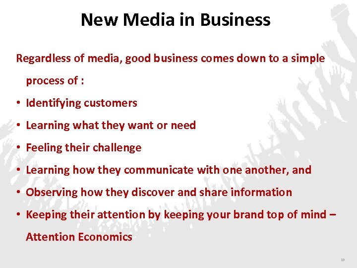 New Media in Business Regardless of media, good business comes down to a simple