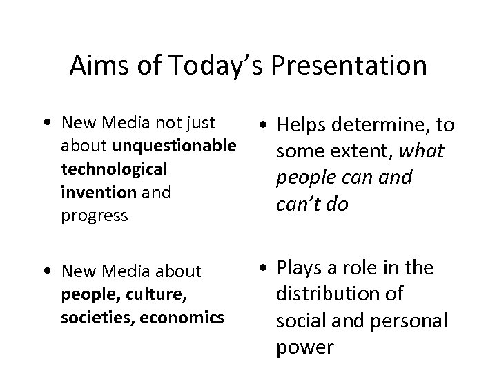 Aims of Today's Presentation • New Media not just about unquestionable technological invention and