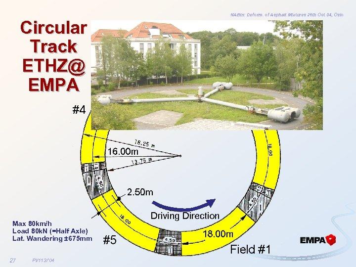 NABin: Deform. of Asphalt Mixtures 26 th Oct 04, Oslo Circular Track ETHZ@ EMPA