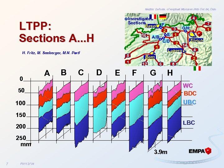 NABin: Deform. of Asphalt Mixtures 26 th Oct 04, Oslo Investigated Sections Basel LTPP: