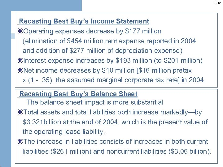3 -12 Recasting Best Buy's Income Statement z. Operating expenses decrease by $177 million