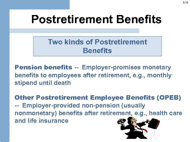 3 -13 Postretirement Benefits Two kinds of Postretirement Benefits Pension benefits -- Employer-promises monetary