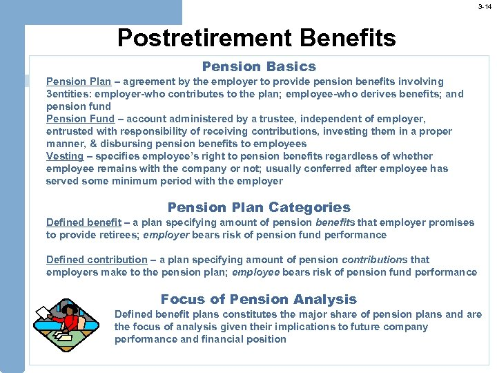 3 -14 Postretirement Benefits Pension Basics Pension Plan – agreement by the employer to