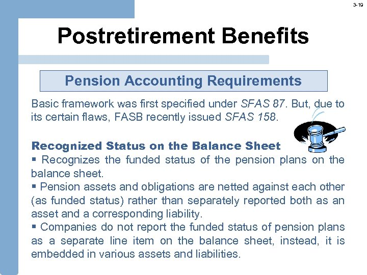 3 -19 Postretirement Benefits Pension Accounting Requirements Basic framework was first specified under SFAS