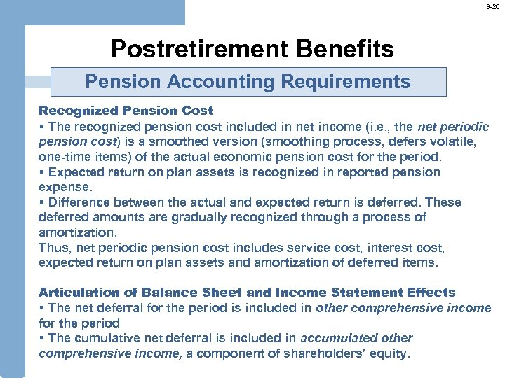 3 -20 Postretirement Benefits Pension Accounting Requirements Recognized Pension Cost § The recognized pension