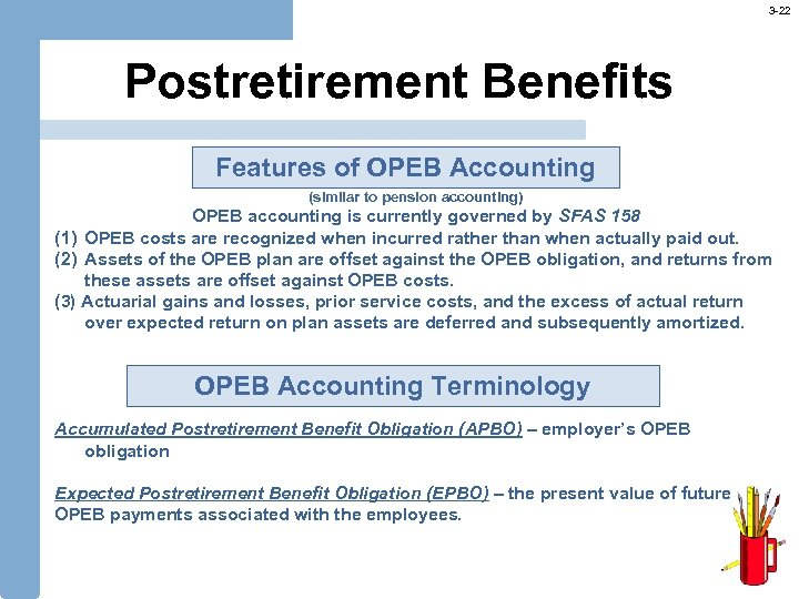 3 -22 Postretirement Benefits Features of OPEB Accounting (similar to pension accounting) OPEB accounting