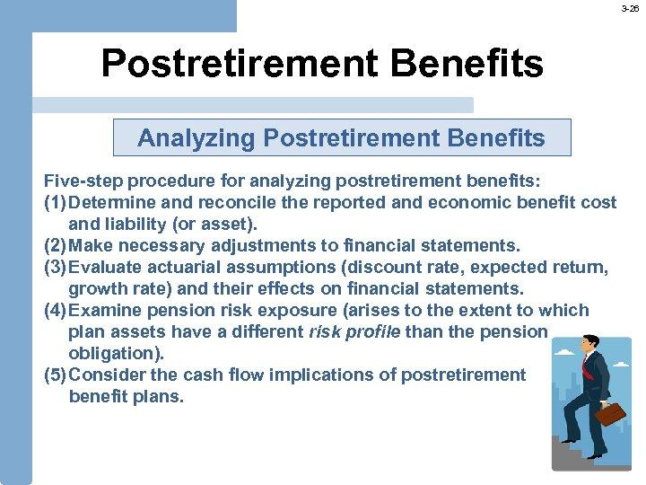 3 -26 Postretirement Benefits Analyzing Postretirement Benefits Five-step procedure for analyzing postretirement benefits: (1)