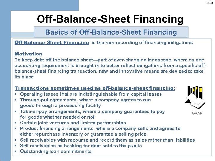 3 -30 Off-Balance-Sheet Financing Basics of Off-Balance-Sheet Financing is the non-recording of financing obligations