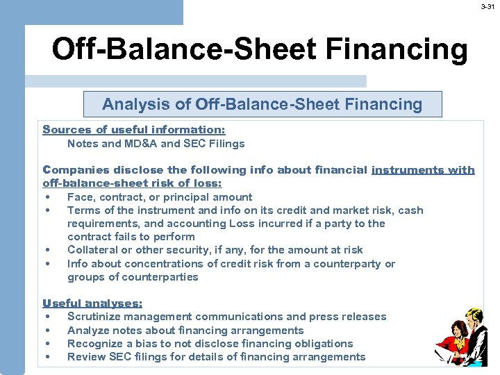 3 -31 Off-Balance-Sheet Financing Analysis of Off-Balance-Sheet Financing Sources of useful information: Notes and