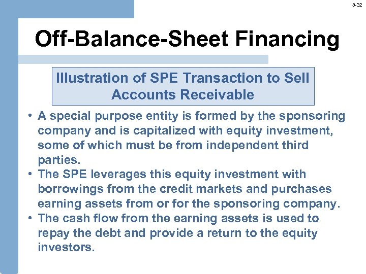 3 -32 Off-Balance-Sheet Financing Illustration of SPE Transaction to Sell Accounts Receivable • A