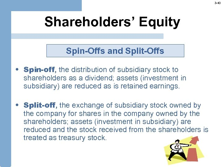 3 -40 Shareholders' Equity Spin-Offs and Split-Offs • Spin-off, the distribution of subsidiary stock
