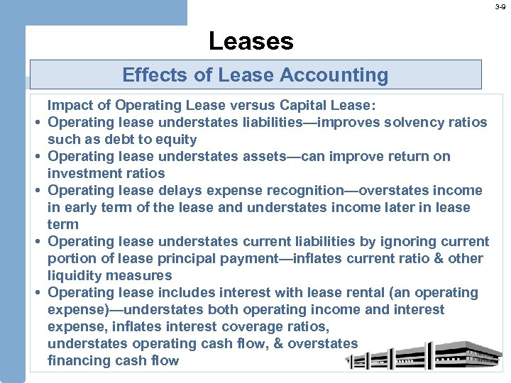 3 -9 Leases Effects of Lease Accounting Impact of Operating Lease versus Capital Lease:
