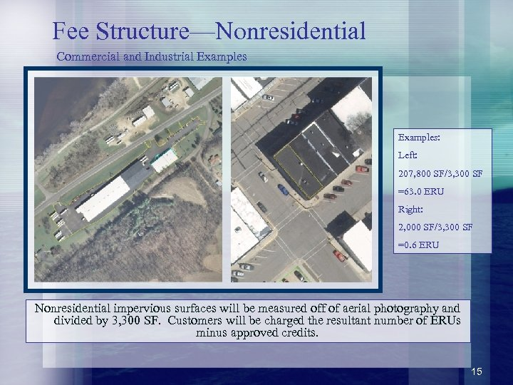 Fee Structure—Nonresidential Commercial and Industrial Examples: Left: 207, 800 SF/3, 300 SF =63. 0