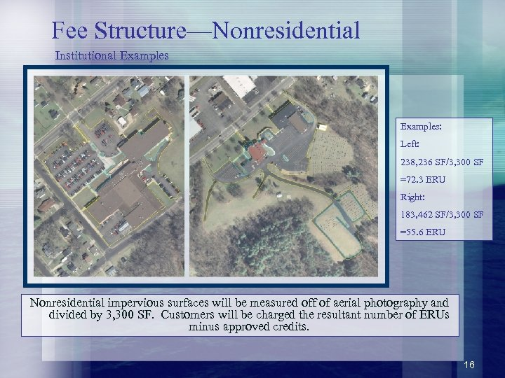 Fee Structure—Nonresidential Institutional Examples: Left: 238, 236 SF/3, 300 SF =72. 3 ERU Right: