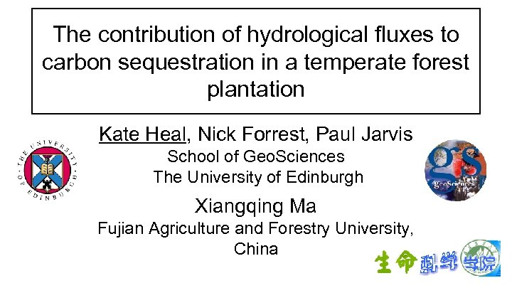 The contribution of hydrological fluxes to carbon sequestration in a temperate forest plantation Kate