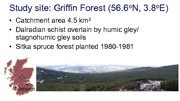 Study site: Griffin Forest (56. 6 o. N, 3. 8 o. E) • Catchment