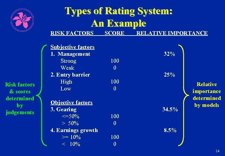 Types of Rating System: An Example RISK FACTORS Risk factors & scores determined by