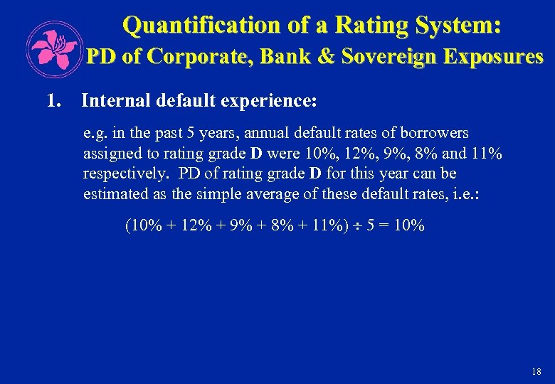 Quantification of a Rating System: PD of Corporate, Bank & Sovereign Exposures 1. Internal