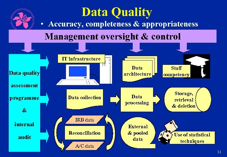 Data Quality • Accuracy, completeness & appropriateness Management oversight & control IT infrastructure Data