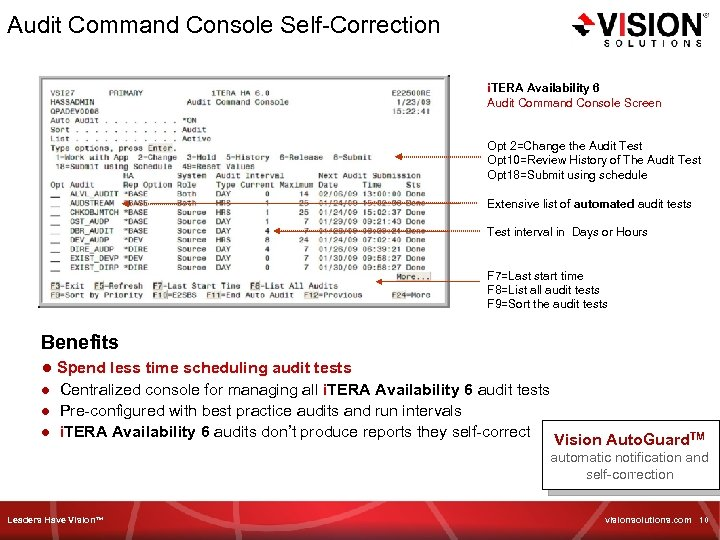 Audit Command Console Self-Correction i. TERA Availability 6 Audit Command Console Screen Opt 2=Change