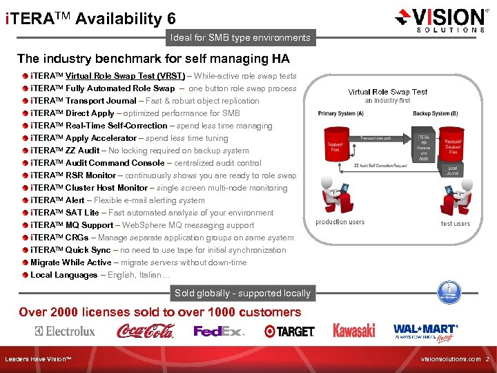 i. TERATM Availability 6 Ideal for SMB type environments The industry benchmark for self