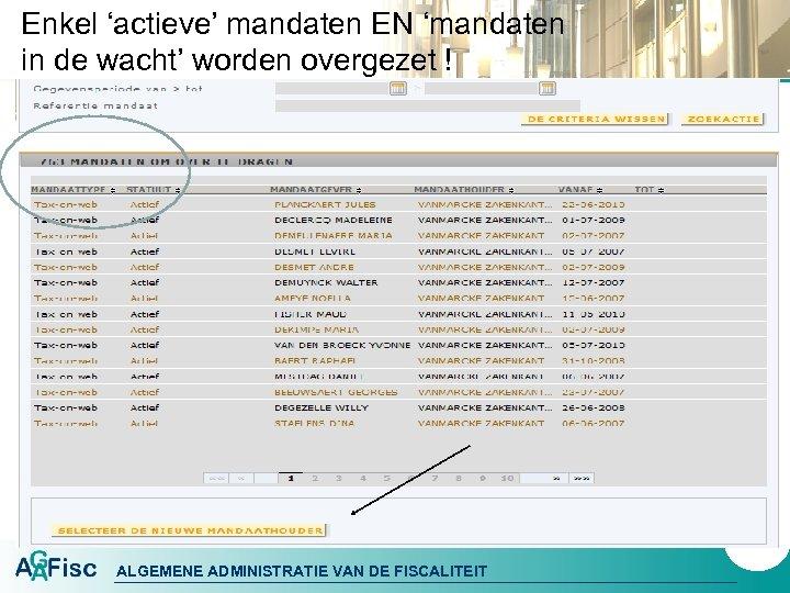 Enkel 'actieve' mandaten EN 'mandaten in de wacht' worden overgezet ! 60 ALGEMENE ADMINISTRATIE
