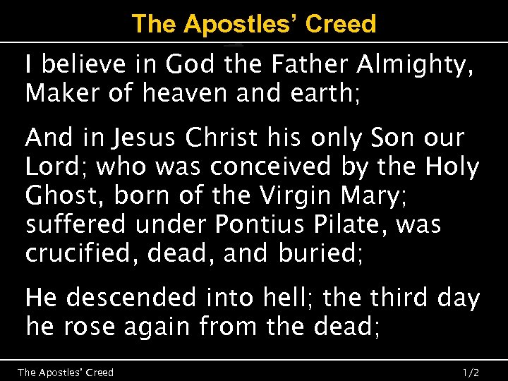 The Apostles' Creed I believe in God the Father Almighty, Maker of heaven and