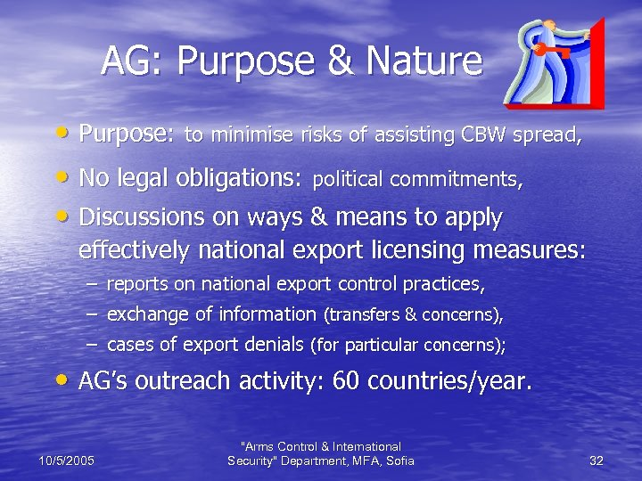 AG: Purpose & Nature • Purpose: to minimise risks of assisting CBW spread, •