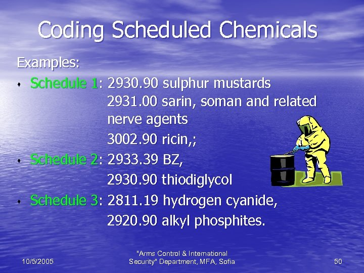Coding Scheduled Chemicals Examples: s Schedule 1: 2930. 90 sulphur mustards 2931. 00 sarin,