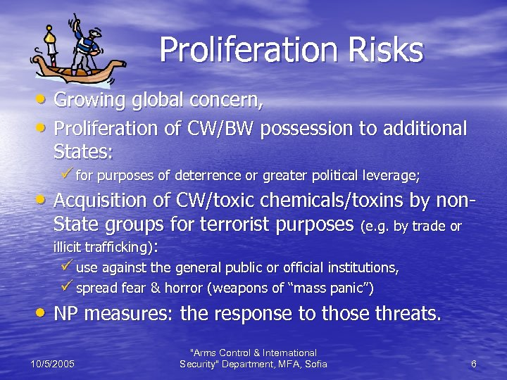 Proliferation Risks • Growing global concern, • Proliferation of CW/BW possession to additional States: