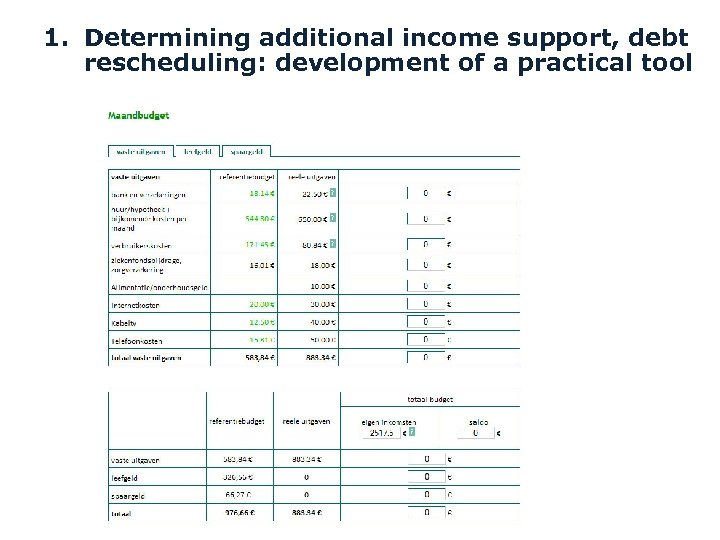 1. Determining additional income support, debt rescheduling: development of a practical tool