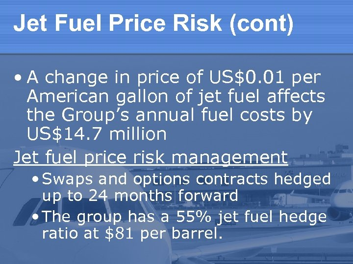 Jet Fuel Price Risk (cont) • A change in price of US$0. 01 per