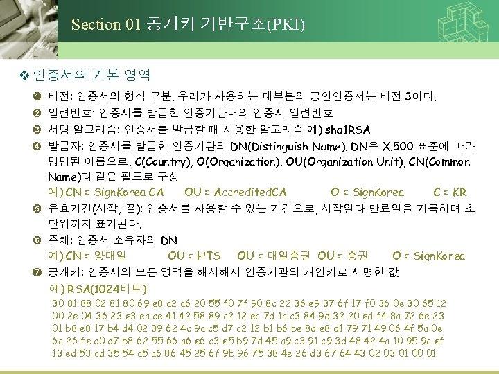 Section 01 공개키 기반구조(PKI) v 인증서의 기본 영역 ➊ ➋ ➌ ➍ 버전: 인증서의