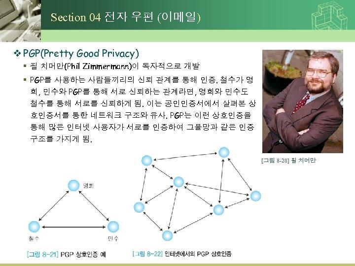 Section 04 전자 우편 (이메일) v PGP(Pretty Good Privacy) § 필 치머만(Phil Zimmermann)이 독자적으로