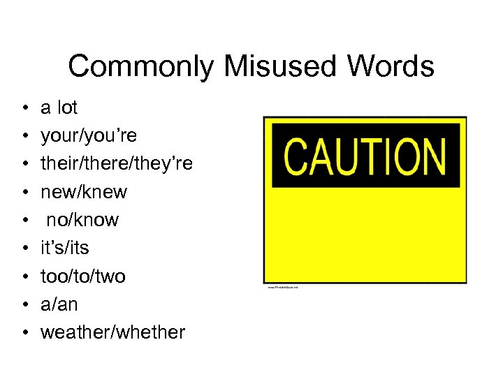 Commonly Misused Words • • • a lot your/you're their/there/they're new/knew no/know it's/its too/to/two