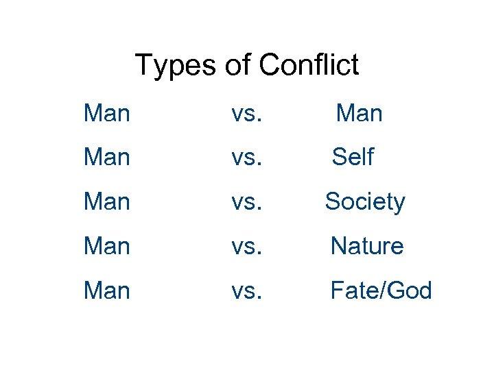 Types of Conflict Man vs. Self Man vs. Society Man vs. Nature Man vs.