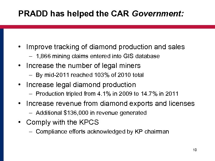 PRADD has helped the CAR Government: • Improve tracking of diamond production and sales