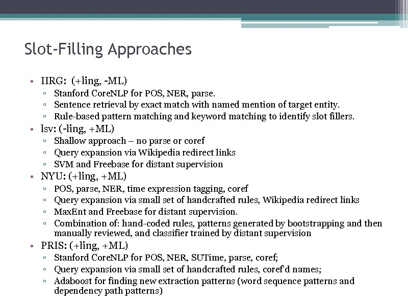 Slot-Filling Approaches • IIRG: (+ling, -ML) ▫ Stanford Core. NLP for POS, NER, parse.