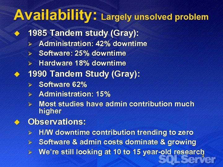Availability: Largely unsolved problem u 1985 Tandem study (Gray): Ø Ø Ø u 1990