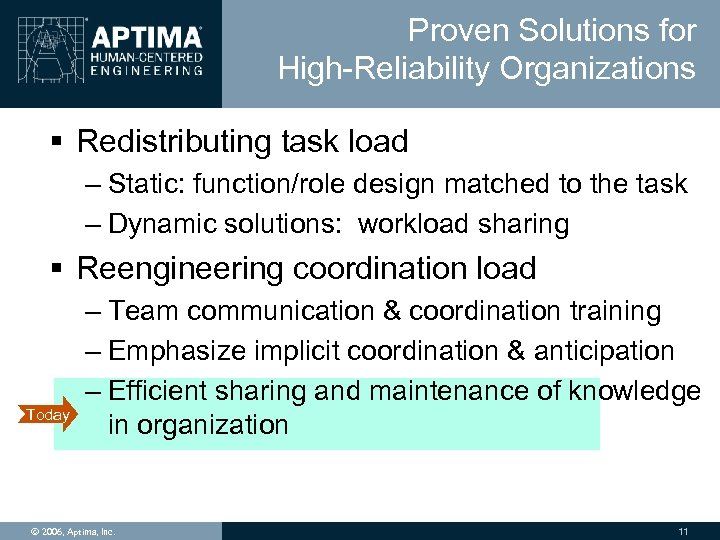 Proven Solutions for High-Reliability Organizations § Redistributing task load – Static: function/role design matched