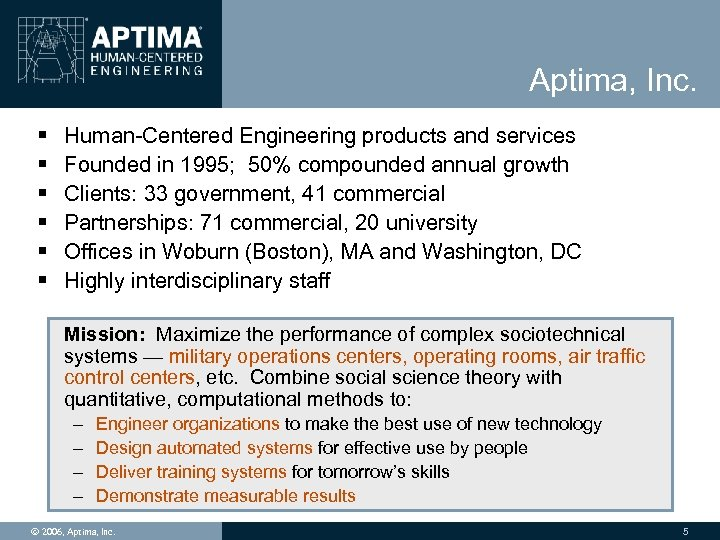 Aptima, Inc. § § § Human-Centered Engineering products and services Founded in 1995; 50%