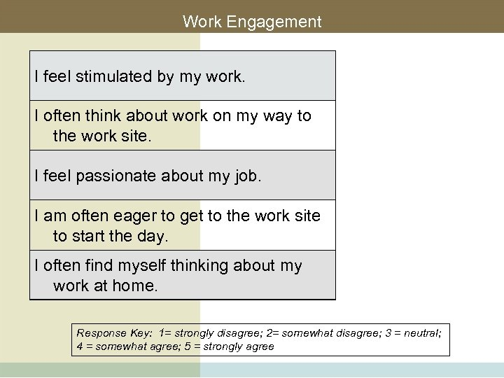 Work Engagement I feel stimulated by my work. I often think about work on