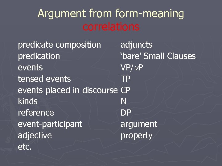 Argument from form-meaning correlations predicate composition adjuncts predication 'bare' Small Clauses events VP/v. P