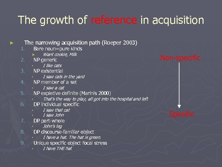 The growth of reference in acquisition ► The narrowing acquisition path (Roeper 2003) 1.